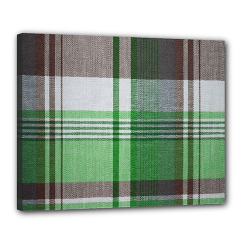 Plaid Fabric Texture Brown And Green Canvas 20  X 16