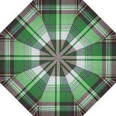 Plaid Fabric Texture Brown And Green Folding Umbrellas