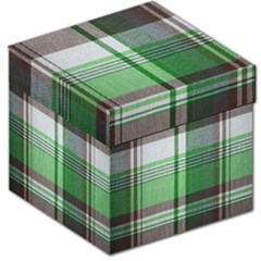 Plaid Fabric Texture Brown And Green Storage Stool 12