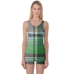 Plaid Fabric Texture Brown And Green One Piece Boyleg Swimsuit