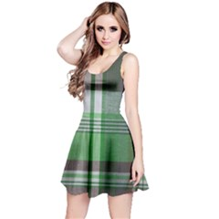Plaid Fabric Texture Brown And Green Reversible Sleeveless Dress
