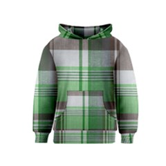 Plaid Fabric Texture Brown And Green Kids  Pullover Hoodie