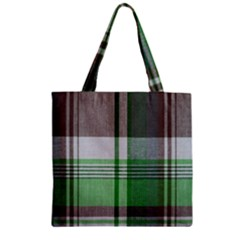 Plaid Fabric Texture Brown And Green Zipper Grocery Tote Bag