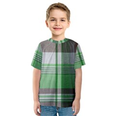 Plaid Fabric Texture Brown And Green Kids  Sport Mesh Tee