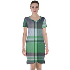 Plaid Fabric Texture Brown And Green Short Sleeve Nightdress