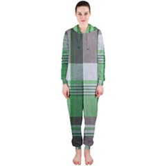 Plaid Fabric Texture Brown And Green Hooded Jumpsuit (ladies)