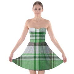 Plaid Fabric Texture Brown And Green Strapless Bra Top Dress