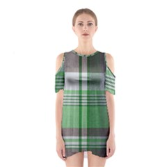 Plaid Fabric Texture Brown And Green Shoulder Cutout One Piece