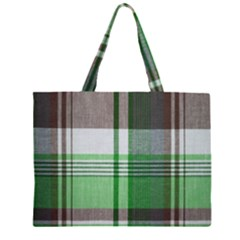 Plaid Fabric Texture Brown And Green Zipper Large Tote Bag