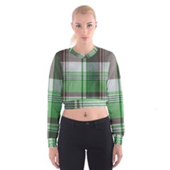 Plaid Fabric Texture Brown And Green Cropped Sweatshirt