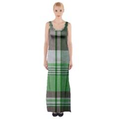 Plaid Fabric Texture Brown And Green Maxi Thigh Split Dress
