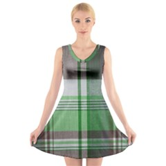 Plaid Fabric Texture Brown And Green V Neck Sleeveless Skater Dress