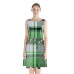 Plaid Fabric Texture Brown And Green Sleeveless Waist Tie Chiffon Dress