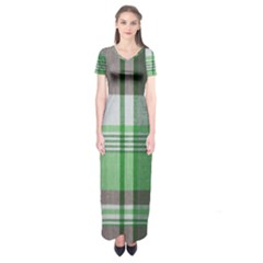 Plaid Fabric Texture Brown And Green Short Sleeve Maxi Dress