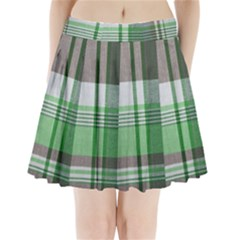 Plaid Fabric Texture Brown And Green Pleated Mini Skirt