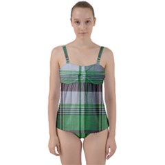 Plaid Fabric Texture Brown And Green Twist Front Tankini Set