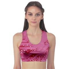 Pink Circuit Pattern Sports Bra