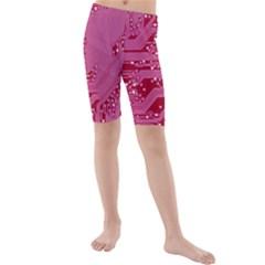 Pink Circuit Pattern Kids  Mid Length Swim Shorts
