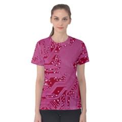 Pink Circuit Pattern Women s Cotton Tee