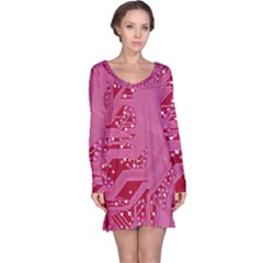 Pink Circuit Pattern Long Sleeve Nightdress