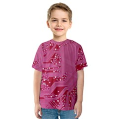 Pink Circuit Pattern Kids  Sport Mesh Tee