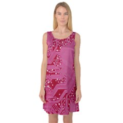 Pink Circuit Pattern Sleeveless Satin Nightdress