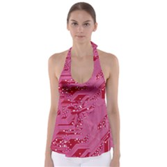 Pink Circuit Pattern Babydoll Tankini Top