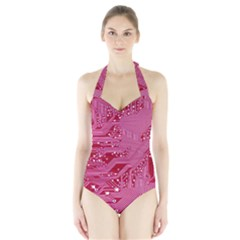 Pink Circuit Pattern Halter Swimsuit