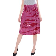 Pink Circuit Pattern Midi Beach Skirt