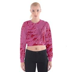 Pink Circuit Pattern Cropped Sweatshirt