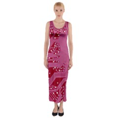 Pink Circuit Pattern Fitted Maxi Dress