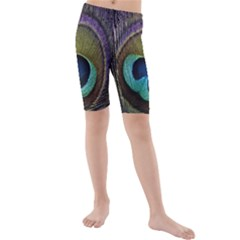 Peacock Feather Kids  Mid Length Swim Shorts