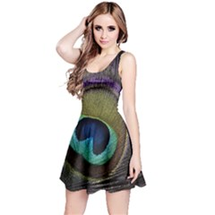 Peacock Feather Reversible Sleeveless Dress