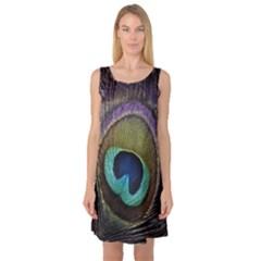 Peacock Feather Sleeveless Satin Nightdress