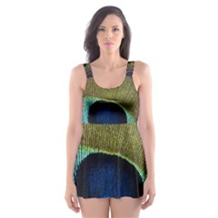 Peacock Feather Skater Dress Swimsuit