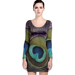 Peacock Feather Long Sleeve Velvet Bodycon Dress