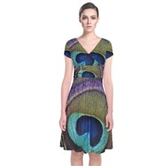 Peacock Feather Short Sleeve Front Wrap Dress