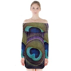 Peacock Feather Long Sleeve Off Shoulder Dress