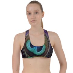 Peacock Feather Criss Cross Racerback Sports Bra