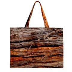 Natural Wood Texture Zipper Mini Tote Bag