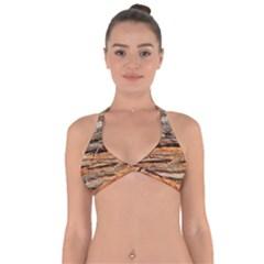 Natural Wood Texture Halter Neck Bikini Top