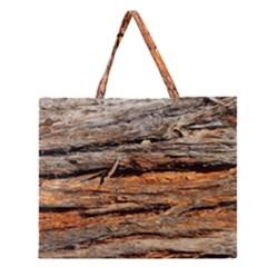 Natural Wood Texture Zipper Large Tote Bag