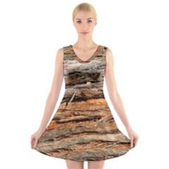 Natural Wood Texture V Neck Sleeveless Skater Dress