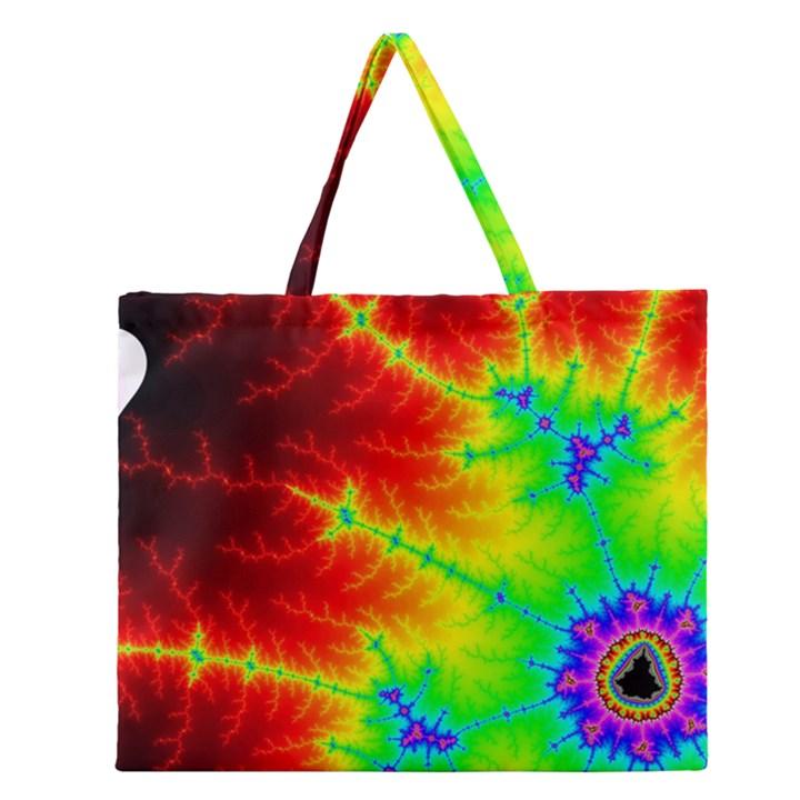 Misc Fractals Zipper Large Tote Bag