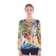 Multicolor Anime Colors Colorful Women s Long Sleeve Tee