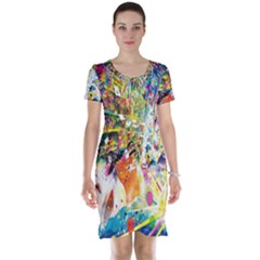 Multicolor Anime Colors Colorful Short Sleeve Nightdress