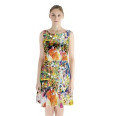 Multicolor Anime Colors Colorful Sleeveless Waist Tie Chiffon Dress