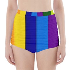 Paper Rainbow Colorful Colors High Waisted Bikini Bottoms