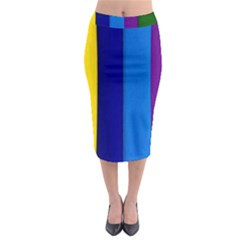 Paper Rainbow Colorful Colors Midi Pencil Skirt