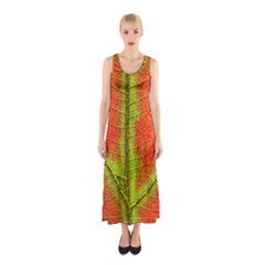 Nature Leaves Sleeveless Maxi Dress